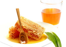 Close up honeycomb on white background. Honeycomb for health  on white background.Stock photo Royalty Free Stock Image