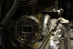 Close-up Horn of the Royal Enfield Classic 500, vintage motorcycle. Nonthaburi,THAILAND - April 6, 2018 : Close-up Horn of the Royal Enfield Classic 500 Royalty Free Stock Photos