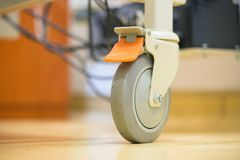 Close Up Hospital Bed Wheels Concept And Ideas For Healthcare And Medical Background.  royalty free stock photos
