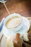 Close up of hot coffee in ceramic mug Royalty Free Stock Photo
