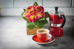 Close-up of hot coffee, moka-pot and flowers. Royalty Free Stock Images