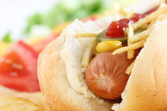Close up of a Hot Dog - shalow DOF Royalty Free Stock Photography