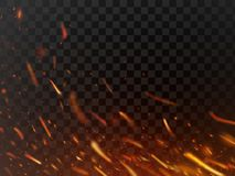 Close-up hot fiery sparkles and flame particles isolated. Inferno fire sparks and flaming flakes dark vector background. Close-up hot fiery sparkles and flame Royalty Free Stock Images