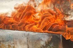 Close up of a Hot Fire Flame Burning Royalty Free Stock Images