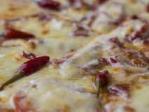 Close up hot pizza. Close up hot chili pizza Royalty Free Stock Photography