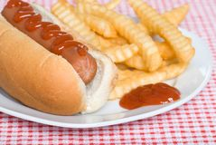 Close up of a hotdog and french fries with ketchup Stock Photo