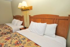 Close up of hotel beds Royalty Free Stock Photography