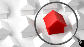 Close up of a house. Focus on its characteristics. Property comparison. Conceptual illustration. 3D Rendering Stock Photo