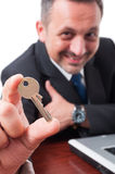 Close-up of house key as real estate concept Stock Photo
