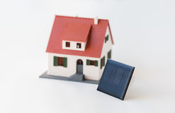 Close up of house model and solar battery or cell Stock Image