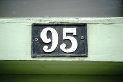 House number 95. A close up of a house number 95 Stock Images