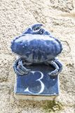 Close-up of a house number made with terracotta with creative design. NORMANDY, FRANCE stock image
