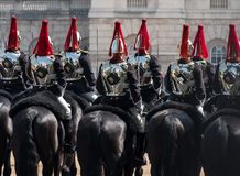 Close up of Household Cavalry taking part in the Trooping the Colour ceremony, London UK. Photographed on a sunny day at Horse Guards Parade, London UK stock image
