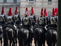 Close up of Household Cavalry taking part in the Trooping the Colour ceremony, London UK. Photographed on a sunny day at Horse Guards Parade, London UK stock photography