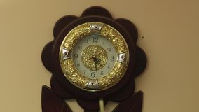 Close Up Household Wall Clock. Closeup shot interior house wall stock video footage