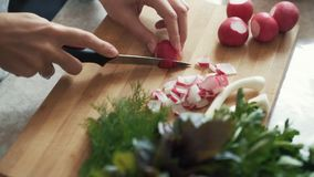 Close up housewife hands with knife cutting radishes on wooden board, slow motion. Close up woman hands with knife cutting radishes on wooden board, slow motion stock footage