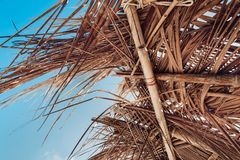 Close up of hovel made of palm leaves on beach Royalty Free Stock Photos