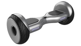 Close up of hoverboard, dual wheel self balancing electric smart mini Scooter, painted grey metallic . 3d rendering of. Close up of hover board, dual wheel self Stock Images