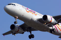Close up of HS-TXC Thaismile airline. Stock Image