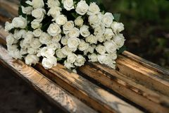 close-up of a huge bouquet of white roses royalty free stock image