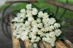 close-up of a huge bouquet of white roses royalty free stock images