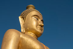 Close-up,The huge golden Buddha at khao kiaw temple in ratchabur Stock Photo