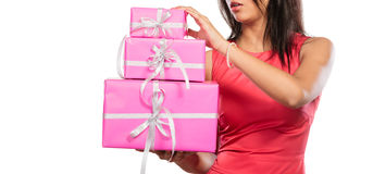Close up of human with boxes gifts. Christmas Royalty Free Stock Image