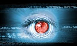 Close-up of human eye. Close-up high-tech image of human eye. Technology concept Stock Photo
