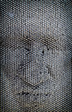 Close up of human face concept made from pin board toy stock photo