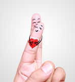 Close up of human finger falling in love Stock Photo