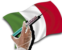 Close up of human hand with cash injection on italian flag Royalty Free Stock Images