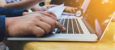 Close up human hand typing keyboard laptop. royalty free stock image