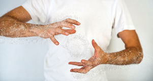 Close up Human Hand with Water Splash Effect Stock Images
