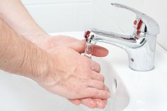 Close-up of human hands being washed Royalty Free Stock Image