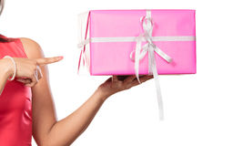 Close up of human hands with box gift. Christmas Stock Images