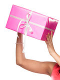 Close up of human hands with box gift. Christmas Royalty Free Stock Image