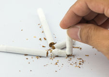 Close-up Of Human Hands Breaking The Cigarette Stock Images