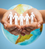 Close up of human hands with earth globe Royalty Free Stock Photo