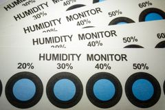 Close-up of humidity indicator cards from electronics manufacturing industry with blue indicator dots stock photos