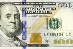 Close-up Of Hundred Dollars Bill. Single bill close-up with Benjamin on first 1/3 Royalty Free Stock Image