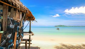 Resort at the beach. Close up hut resort at the beautiful peaceful beach in Thailand Royalty Free Stock Images