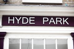 Close up of Hyde Park Sign Stock Photos