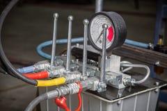 Hydraulic control panel stock image