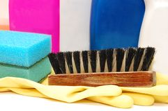 Close up of hygiene cleaners for housework Stock Photos