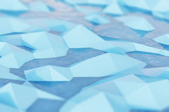 Close up of ice chunks in water. Close up of blue chunks of ice floating in dark blue water. Abstract picture. Background. 3d rendering Royalty Free Stock Images