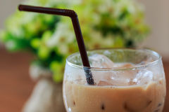 Close up Ice coffee in glass Royalty Free Stock Images