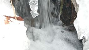 River spring ice cold. Close up of ice covered grass melting next to a rushing river in stock footage