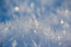 Close up of ice crystals formed on snow Royalty Free Stock Photo