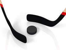 Close up of an ice hockey stick and puck. On white background Royalty Free Stock Image