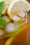 Close-up of ice tea with lemon and mint Royalty Free Stock Images